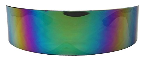 SunglassUP One Piece Futuristic Wrap Around Novelty Cyclops Robocop Sunglasses (Midnight Green - Cyclops Glasses