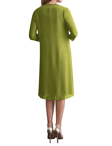 Bride of Dress The Mother Jacket Gown Olive Pcs Chiffon Size Plus 2 with Formal Short qEHHdWTnw