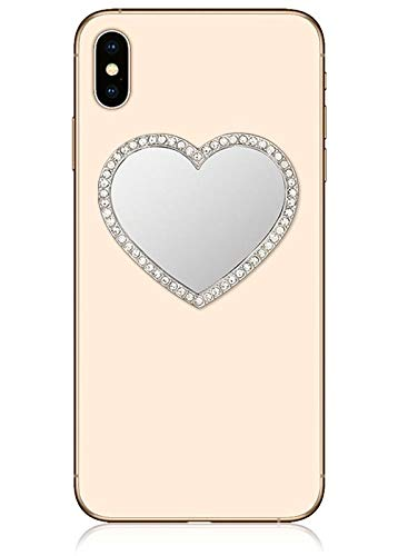 Cell Heart Phone - iDecoz Phone Mirror/Sticks on The Back of Your Phone or case. The Replacement for The Compact Mirror. It's The Best Way to Check Yourself Out On-The-Go! (Silver Heart w/Crystals)