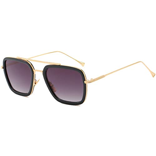 Tortoise Sunglasses Retro Aviator Polarized Sunglasses Square Metal Frame for Men Women Sunglasses Classic Downey Iron Man Tony Stark (Gold Metal Gradient Grey Lens) ()