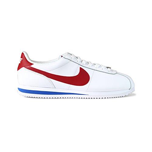 Plain Basic Leather - NIKE Men's Cortez Basic Leather OG Shoe White/Varsity/Red