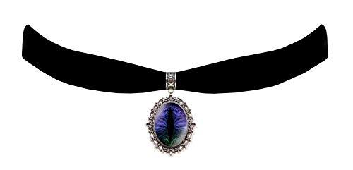 Victorian Vault Black Velvet Dragon Eye Choker Steampunk Gothic Pendant Necklace (Violet Turquoise Rainbow)]()