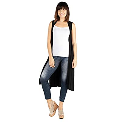 24seven Comfort Apparel Womens Sleeveless Long Vest Duster Cardigan - Made in USA - (Sizes S-1XL) Machine Washable at Women's Clothing store