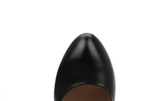 VogueZone009 Womans Closed Pointed Toe Kitten Heel Tommy Hilfiger Soft Material Solid Pumps, Black, 4.5 UK