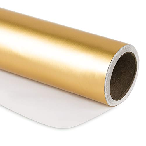 RUSPEPA Gift Wrapping Paper Roll - 81.5 Sq Ft Matte Gold for Wedding,Birthday, Shower, Congrats, and Holiday Gifts-30Inch X -