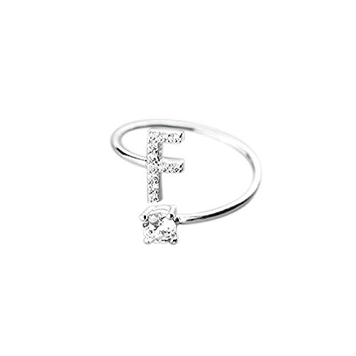 Orcbee  _Fashionable and Simple Opening 26 Letters with Diamond Ring Ladies Jewelry (F)
