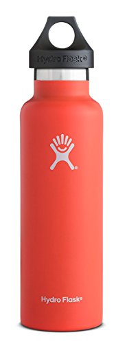 Hydro Flask 21 oz Vacuum Insulated Stainless Steel Water Bottle, Standard Mouth with Loop Cap, Tangelo ()