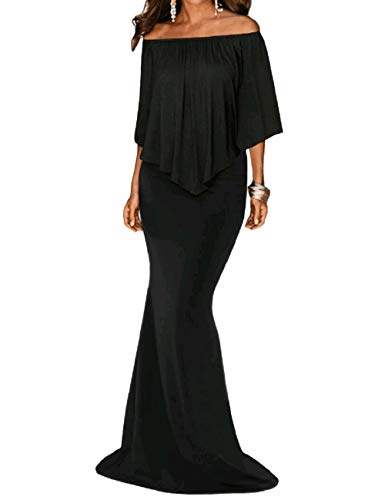 Noche Mujeres Vestidos Maxi Shoulder 2 Off Black Sin Prom Elegante Lrud Cinturón One xwpXX8