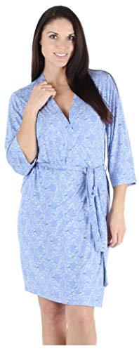 (bSoft Bird Trellis Women's Sleepwear Lightweight Bamboo Knit Kimono Short Bathrobe Wrap Robe (BSBJ1840-1019-S/M))