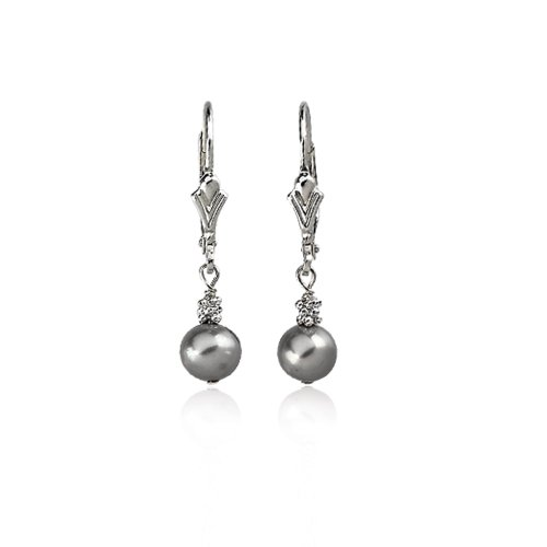 Sterling Silver And 5.0-6.0mm Gray Freshwater Cultured Pearl Lever Back Earrings