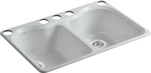 Kohler K-5818-5U-95 Hartland Double Equal Undercounter Sink with Five-Hole Faucet Drilling, Ice Grey