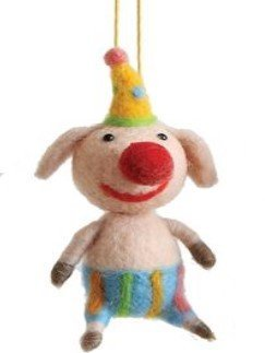 On Holiday Wool Pig with Yellow Spotted Hat Circus Animal Christmas Tree Ornament