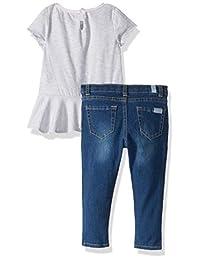 7 For All Mankind - Conjunto de chaqueta, camiseta y pantalones vaqueros para niña (3 piezas)