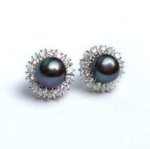 UltraSunday 8-9mm Black Natural Pearl Earring Crystal AAA Grade ()