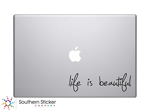 Life Is Beautiful Text Silhouette Macbook Symbol Keypad Iphone Apple Ipad Decal Skin Sticker Laptop, 6.5