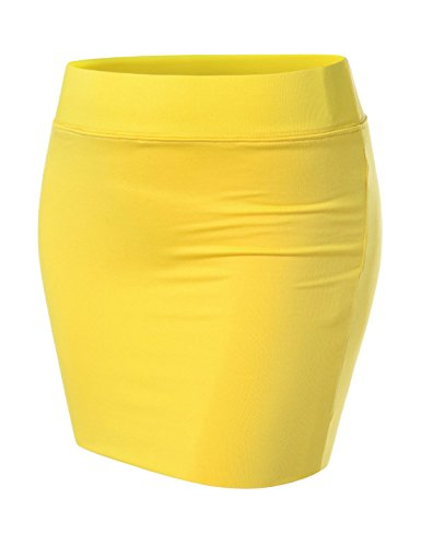 - NEARKIN (NKNKW3S Beloved Womens Waistband Double Elastic Layered Mini Skirt Yellow US L(Tag Size XL)