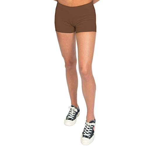 Stretch is Comfort Women's NYLON SPANDEX Stretch Booty Shorts Brown Medium