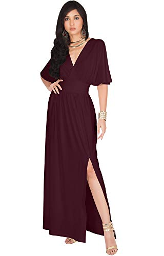 KOH KOH Womens Long Sexy Kimono Short Sleeve Slit Split V-Neck Party Cocktail Evening Bridesmaid Wedding Guest Sun Gown Gowns Maxi Dress Dresses for Women, Maroon Wine Red M 8-10 ()