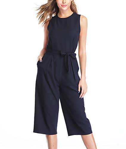 (Dilgul Women's Jumpsuit Elegant Dressy Sleeveless Tank Strap High Waist Tie-Belt Wide-Leg L(US 12-14) Navy Blue)
