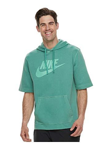Nike Men's Logo Pullover Hoodie (Green White, 2XL)