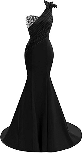 Lily Wedding Womens One Shoulder Satin Mermaid Prom Dresses 2018 Long Formal Evening Ball Gowns D44 Black Size 12