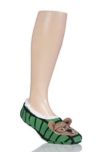 Mens 1 Pair SockShop Wild Feet Bear in Glasses Tartan Slippers Green guk09yJpGu