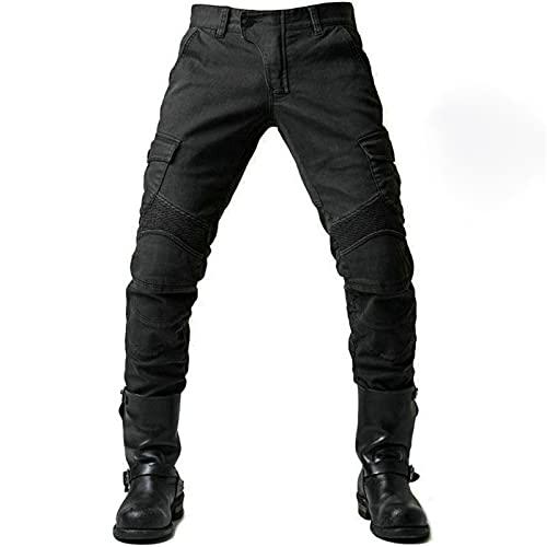 Motorrad-Hose, Schutzhose, Herren Motorrad-Jeans aus atmungsaktivem, verschleißfestem Kevlar mit 2 Paar schützenden Hüft…