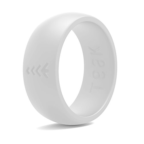 Teak Silicone Wedding Ring for Men. Rubber Wedding Band for Every Day Use - Weight Training, Sports, Military, Work, Hunting, Travel and Outdoors (White, 10)