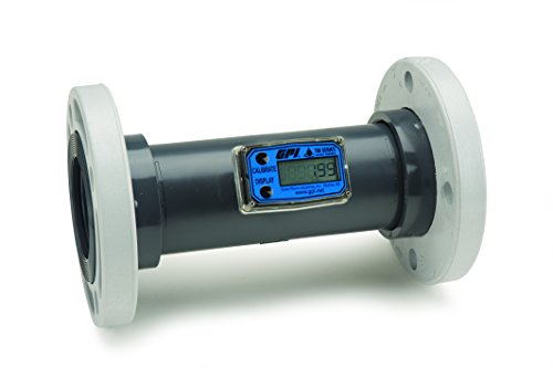 FLOMEC TM300-F, PVC Turbine Flowmeter for Use with Water & Mild Chemicals, 3-Inch 150# ANSI Flange, 40-400 GPM, LCD Display, +/-3 Percent Accuracy, Durable Schedule 80 ()