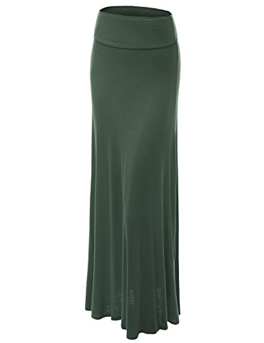 WB670 Womens Fold-Over Maxi Skirt XL OLIVE