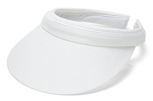 Womens Tennis Visor - TopHeadwear Sports Cotton Twill Clip-On Visor - White