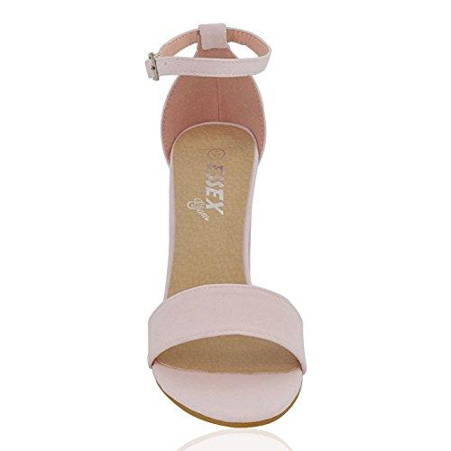 PASTEL tobillo ESSEX Talón Para Peeptoe Strappy del FAUX SUEDE Correa Sandalias GLAM mujer PINK 8 3 Party Shoes Bloque 0r0ZBq
