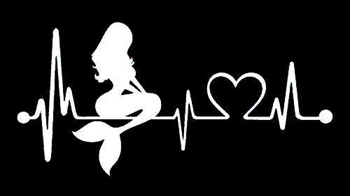 Bluegrass Decals Mermaid Heartbeat Lifeline Monitor Decal Sticker (White, 7)