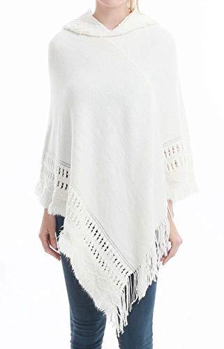 Women's Knitting Hoodied Sweater Cloak Batwing Tassels Shawl Poncho Cape