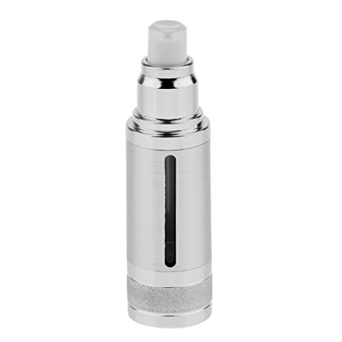 (Homyl Sterile Airless Pump Bottle 1oz - Refillable Cosmetic Container – for Makeup Foundations and Serums - Lightweight Leak Proof & Shockproof Container - Silver)