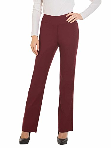 (Red Hanger Bootcut Dress Pants for Women -Stretch Comfy Work Pull on Womens Pant Burgundy-S)