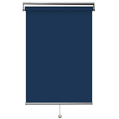Cordless Roller Shades, Blackout Custom Made, UV Protection Enery Saving,Block 100% Light Window Shades Blinds for Home, Hotel, Club, Restaurant 53' W x 60' L, Navy Blue