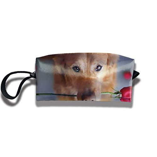Cosmetic Bags With Zipper Makeup Bag Rose Dog Middle Wallet Hangbag Wristlet Holder]()