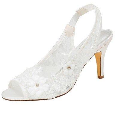 Wuyulunbi@ Scarpe donna donna donna raso elasticizzato estate della pompa base scarpe matrimonio Stiletto Heel Peep toe Pearl Sequin per Party & abito da sera,A,Us7.5   Eu38   Uk5.5   CN38 d9bd0a