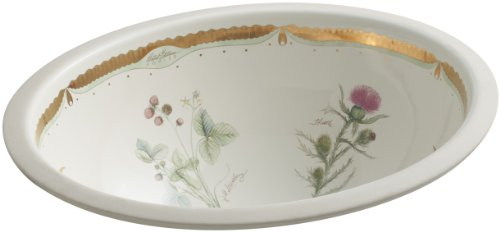 KOHLER K-14218-WF-96 Prairie Flowers Design on Caxton Undercounter Bathroom Sink, Biscuit (Biscuit Kohler Caxton)