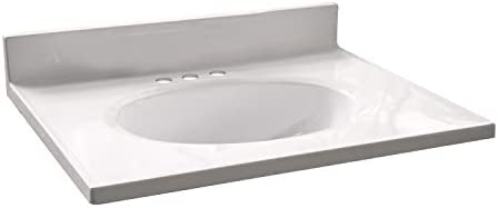 Design House 586180 Cultured Marble 25-inch Vanity Top with Integrated Oval Bowl, Reinforced Packaging, Solid White