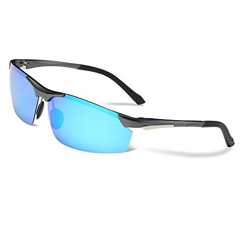 COSVER Men's Sports Style Polarized Sunglasses for Driving Cycling Running Fishing Golf Unbreakable - Metal Frame Al-Mg Glasses (Gray&Blue, - Style Sunglasses Men