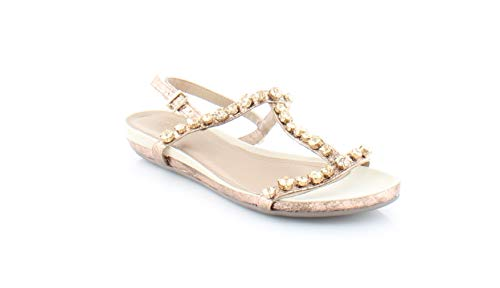 100 Soles Gold Gem - Kenneth Cole REACTION Women's Lost Catch Flat Open Toe Gemstone Accents-Metallic Gladiator Sandal, Rose Gold, 8 M US