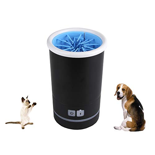 DecoLife Automatic Pet Paws Washing Cup, Dog Cat Paw Cleaner Pet Cleaning Device,Waterproof, 2000mAh USB Rechargeable Battery, Large Size, Black