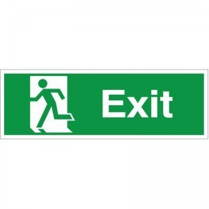 10 x Exit Running Man Left Signs Self Adhesive Warning Stickers Safety Sign Decal Lable for Property 300mm x 100mm