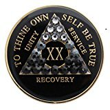 30 Year Black Transition with Swarovski Crystals Tri-Plate Alcoholics Anonymous Medallion- AA Sobriety Chip