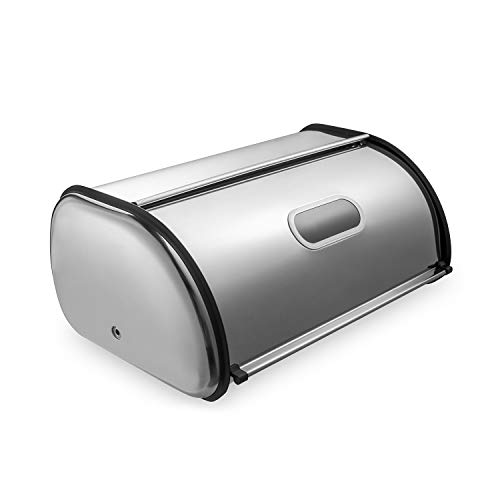 Deppon Matte Stainless Steel Bread Box, Space Saving Kitchen Counter Storage Bin Container with Roll up Lid, Fingerprint Proof, Large Capacity Holds 2 Loaves, 17.5 x 11 x 7.5 Inches, 2nd Generation ()