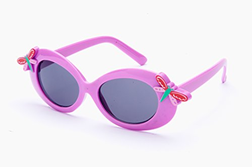 2020 K067 Kids Plastic Sunglasses with Two Little Dragonfly on the Frame (Come with free microfiber pouch) - Dragon Purple Sunglasses