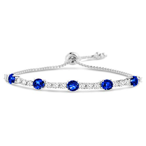 MIA SARINE Round Simulated Sapphire and CZ Adjustable Bolo Tennis Bracelet for Women in Rhodium Plated 925 Sterling Silver (Blue) ()