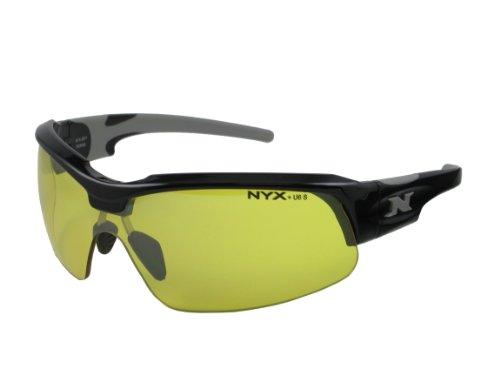 NYX Sport Vision PRO Z-17 Series Sunglass with Z87.1 Safety Rating, Black-Gray Frame/Yellow Luminator Safety Lens, Medium